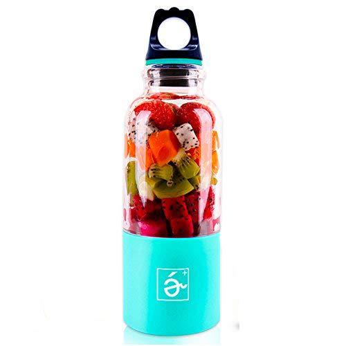 ECVILLA USB Juicer Cup, Portable Personal Blender, Fruit Mixing Machine - Water Bottle 500ml (Blue)