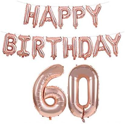 6歳と60歳誕生日 飾り付け バルーン Happy Birthday 風船 パーティー 装飾 バースデー 飾り(ローズゴールド)