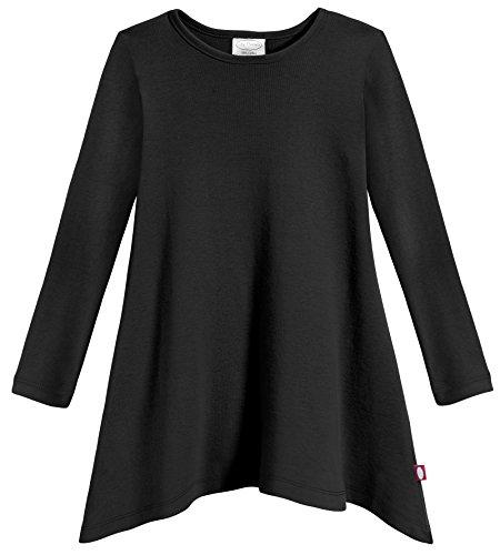 City Threads Girls Shark Bite Long Sleeve Tunic Top Blouse Shirt Stylish Modern All Cotton For Sensitive Skins SPD Sensory Friendly, Black, 12