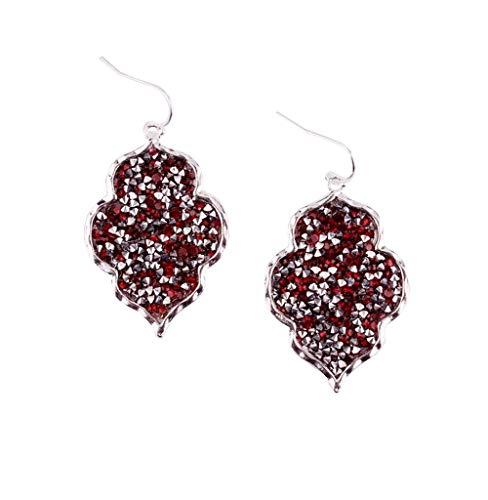 StylesILove Womens Trendy Pave Rhinestone Long Chain Quatrefoil Pendant Necklace Dangle Earrings (Silver Red - Earrings)