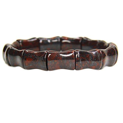 Amandastone Genuine Semi Precious Gemstone Bamboo Festival Beaded Stretchable Charm Bracelet 7 Unisex