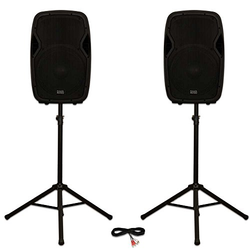 """Acoustic Audio AA15BT Powered 2000 Watts 15"""" Bluetooth Speaker Pair 2 Way MP3 Players and Stands"""