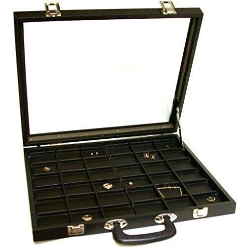 FindingKing Jewelry Travel Display Case Pocket Watch Case Black Leather 36 Unit Display