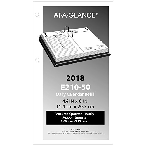 "AT-A-GLANCE Daily Desk Calendar Refill, January 2018 - December 2018, 4-1/2"" x 8"", Loose Leaf (E21050)"