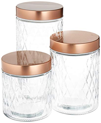 Circleware 68223 Treasure Glass Canisters with Lid Set of 3 Home Kitchen Glassware Food Preserving Container for Coffee, Sugar, Tea, Spices, Cereal, Farmhouse Decor 57.5 oz, 42.25 oz, 28 oz Copper (Copper Sugar Bowl)