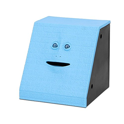 Onerbuy Novelty Face Bank Coin Eating Savings Bank Kids Money Saving Collection Piggy Bank (Blue Brick)