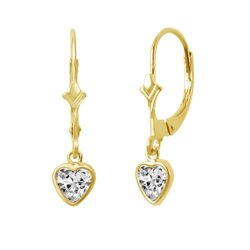 Heart Shaped Dangling Earrings - 14K Gold Fleur De-Lis Lever Back Earrings with Dangling 5x5mm Heart Shaped Simulated Birthstone - White CZ