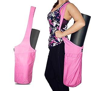 Well-Being-Matters 41ovV27ISVL._SS300_ fitter's niche Yoga Mat Bag Tote Sling Carrier Shoulder Carrying Bag with Large Side Pocket & Zipper Pocket Carrier…