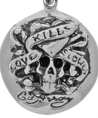 Ed Hardy Love Kills Slowly Button Necklace with Skull Head Nice Chain Unique ()
