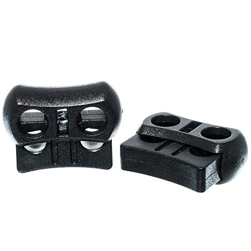 Craft County Black Plastic Dual Hole Adjustable Cord Locks - Double Opening, Wide Barrel, Spring-Loaded Design - Pack Sizes of 5, 10, 25, 50, 100, 250, 500, and 1000