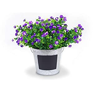 Forever Flowers Artificial Flower Shrubs for Indoor/Outdoor Decor | 6pk of UV Resistant Faux Plants for Your Home and Garden (Purple) 69