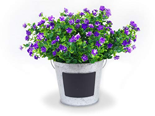 Forever Flowers Artificial Flower Shrubs for Indoor/Outdoor Decor | 6pk of UV Resistant Faux Plants for Your Home and Garden (Purple) (Garden Flowers For Artificial)
