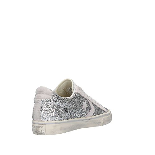 SNEAKERS CONVERSE DONNA pro leather vulc distressed PELLE ARGENTO Plata