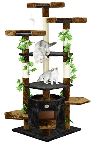 Go Pet Club Cat Condo Climber Furniture, 67-Inch, Brown/Black