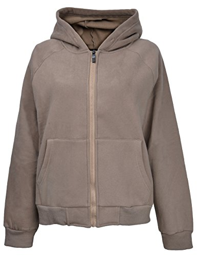 Fleece Cropped Pullover - ZLYC Women Basic Crop Fit Full Zip Fleece Hoodie Sweatshirt Jacket with Pockets (Tag M = US 10, Khaki)