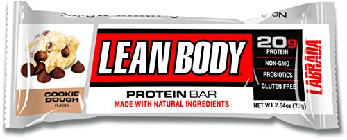 Labrada Nutrition – Lean Body Protein Bars with Probiotics, Non-GMO, Gluten Free, All-Natural Protein Bar Made with Natural Ingredients, Cookie Dough, 12 Bars