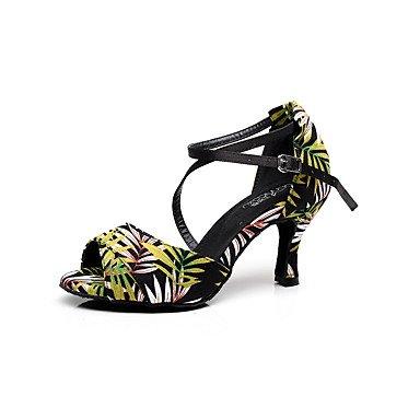 XIAMUO Anpassbare Damen Tanz Schuhe Satin Satin Latin Sandalen Stiletto Heel Praxis/Anfänger/Professional/Innen-/Leistung Grün, Hellgrün, uns 4-4,5/EU34/