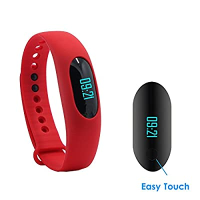 stardrift Pedometer Bracelet Smart Wristband Step Calorie Walking Distance Counter Sleep Monitor Time / Date Display for Outdoor Sports Running Walking (red)