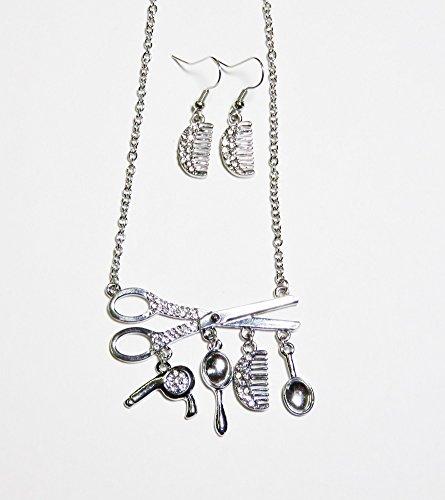 Hair Salon Theme Rhinestone Scissor Charms Necklace Set Hair Stylist