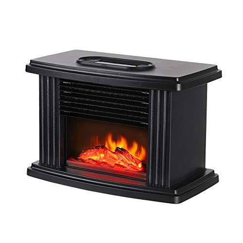ZAVAREA Mini Electric Fireplace Tabletop Portable Heater, Black Metal Frame,Room Heater,Space Heater (Best Electric Fireplace Uk)