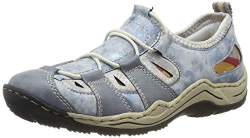 Rieker Women's L0561-12 Low-Top Sneakers Blue (Adria/Heaven/Silverflower 12) 5 UK