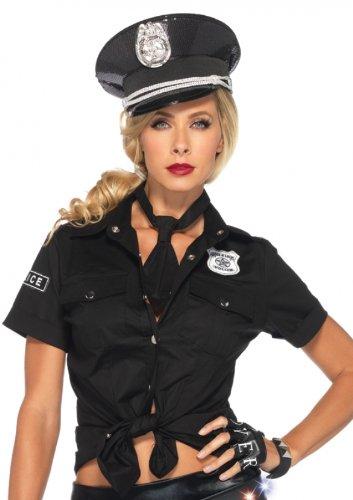 [Leg Avenue Women's 2 Piece Police Shirt and Tie Costume, Black, Medium] (Police Officer Costume Shirt)