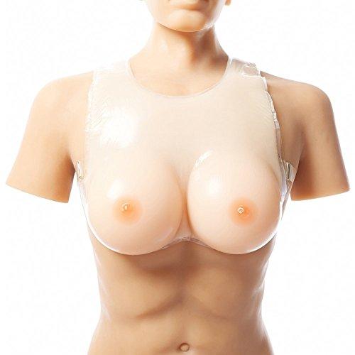 Ajusen 高級シリコン バスト偽胸 乳輪 おっぱい ブラジャー 伸縮性 性転換 仮装 レディー用 シリコンバスト (6XL-2000g  カラー1)