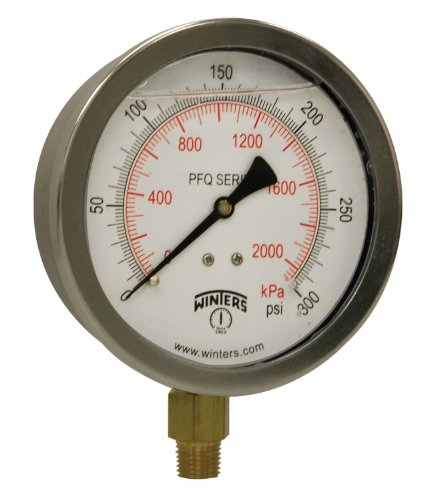 "Winters PFQ Series Stainless Steel 304 Dual Scale Liquid Filled Pressure Gauge with Brass Internals, 0-300 psi/kpa,4"" Dial Display, +/- 1.5% Accuracy, 1/4"" NPT Bottom Mount from Winters Instruments"