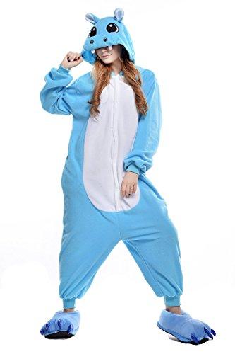Newcosplay Unisex Adult Pyjamas Hippo Halloween Onesie Animals Costume (XL, Blue hippo)]()