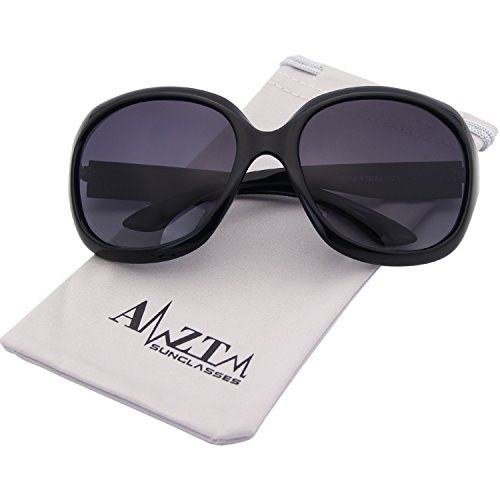 AMZTM Women Polarized Sunglasses Classic Simple Driving Shades Retro Oversized Goggles All-match Large Frame Eyewear -Black -