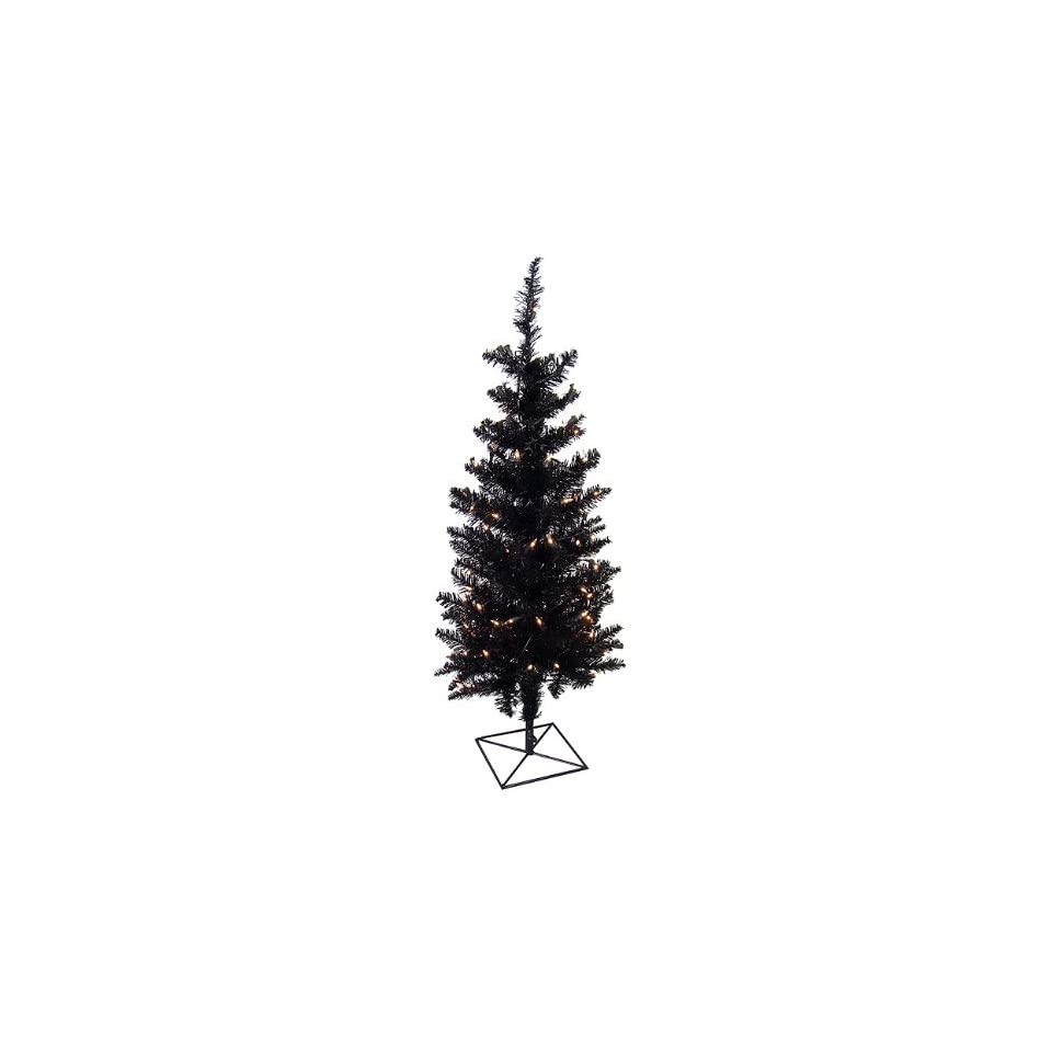 3 Pre Lit Black Ashley Spruce Artificial Christmas Tree   Clear Lights
