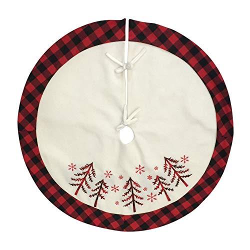 Amidaky Christmas Tree Skirt Red and Black Buffalo Plaid 36 inch Large Xmas Snowflake Tree Mat Holiday Ornaments from Amidaky