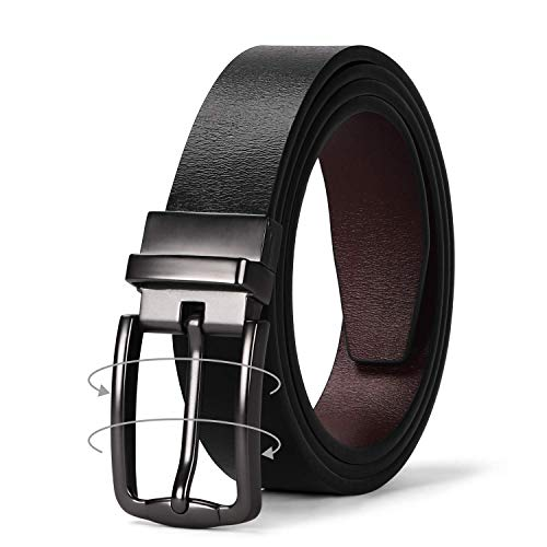 JASGOOD Women Leather Reversible Belt, Ladies Belt for Jeans with Rotated Buckle (Ladies Black Belt)