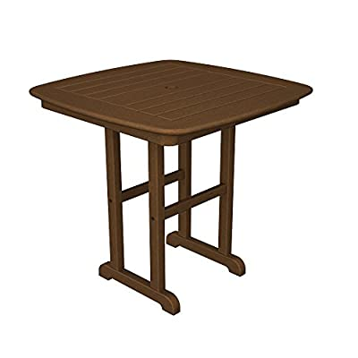 "POLYWOOD NCT31TE Nautical Teak 31"" Dining Table - Constructed of genuine POLYWOOD lumber, a proprietary blend of plastics which includes recycled milk jugs and detergent bottles POLYWOOD lumber requires no painting, staining, waterproofing, or similar maintenance Solid, heavy-duty construction withstands nature's elements - kitchen-dining-room-furniture, kitchen-dining-room, kitchen-dining-room-tables - 41ovYmmPXBL. SS400  -"
