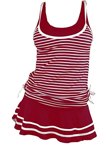 MiYang Women's Tankini Striped Vintage Swim Dress Wine Red XX-Large
