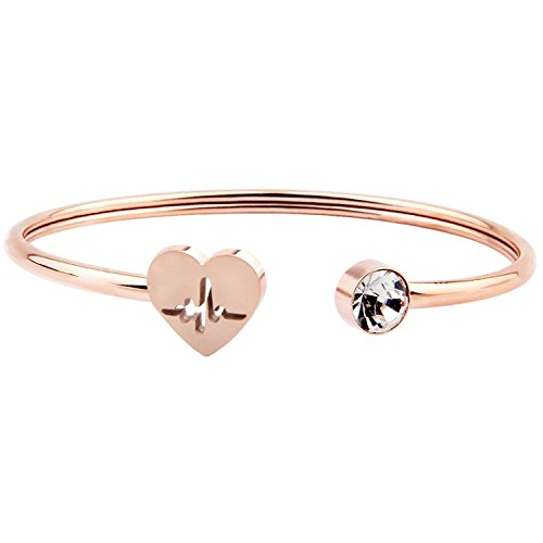 ENSIANTH Rose Gold Heartbeat Bracelet Nurse Stethoscope Bracelet Adjustable Cuff Bangle for Nurse Doctor ()