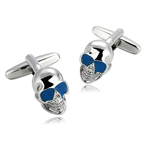 Mens Cufflinks Stainless Steel Silver Blue Skull Head Enamel Vintage 1X1.4CM Dad Jewelry Box Fancy Elegant Unique Aooaz 1 Dad Cufflinks