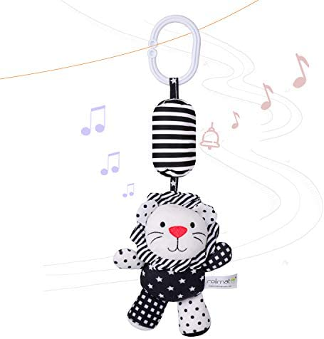 rolimate Baby Toy Cartoon Animal Stuffed Hanging Rattle Toys Baby Bed Crib Car Seat Travel Stroller Soft Plush Toys with Wind Chimes Best Birthday Gift for Newborn 0-18 Month Cow