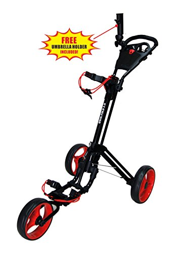 Qwik-Fold 3 Wheel Push Pull Golf CART - Foot Brake - ONE Second to Open & Close! (Black/Red)