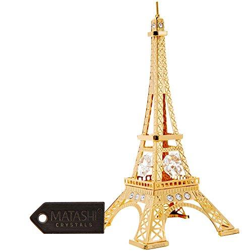 24K Gold Eiffel Tower Gold Figurine Made with Genuine Matashi Crytals