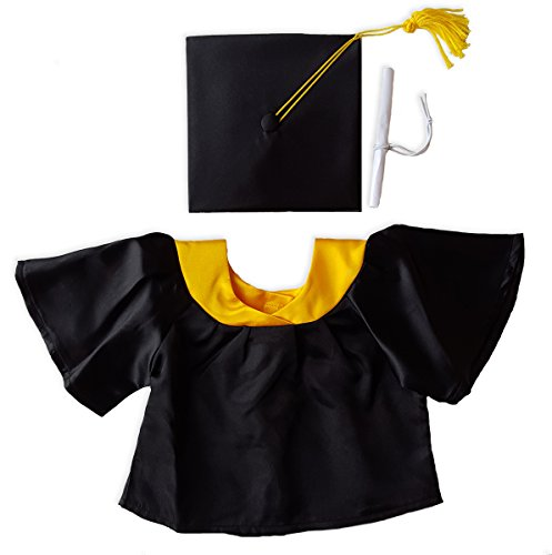 Stuffems Toy Shop Black Graduation Gown w/Hat and Scroll Outfit Teddy Bear Clothes Fits Most 14
