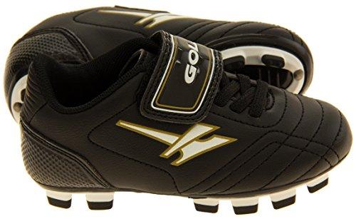 Gola Activo 5 Niños Zapatos de Fútbol de Césped Artificial Negro y Oro