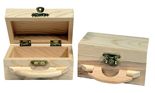 Creative Hobbies Unfinished Mini Wood Box with Handle and Hinged Lid with Clasp Closure -Pack of 4 (Unfinished Wood Mini)