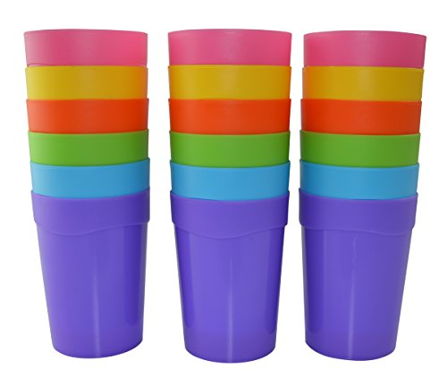 18pc Bekith Reusable Break-resistant BPA-Free Plastic Cup Tumblers in 6 Assorted -