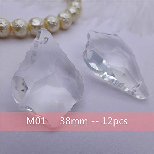 (Clear White Crystals Pendants | DIY Accessories | Pear/Heart/Leaf/Feather/Olive Shape | Glass Lamp/Chandelier/Tree Decorations)