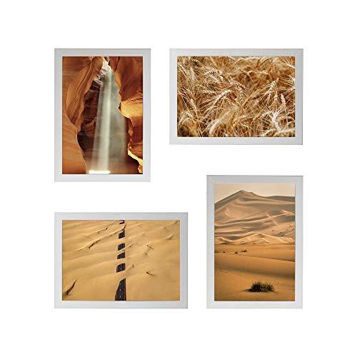 Conjunto Quadros Decorativos Areia Bege Moldura Branca 58x58cm - Prolab Gift