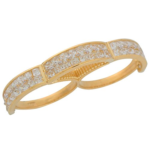 14k Real Yellow Gold Bight Pave Set White CZ Ladies Hip Hop Two Finger Ring by Jewelry Liquidation