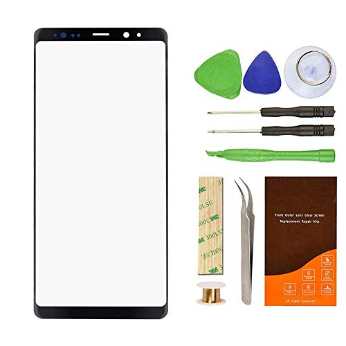 Original Front Glass Repair kit Replacement Compatible with Samsung Galaxy Note 8 N950A N950F 6.3Inch Display incl Tools (Galaxy Note 8 6.3'- Black)