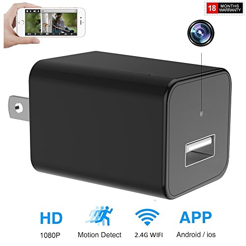 Hd 50 Adapter (Wifi Surveillance Hidden Camera 1080P Motion Detect Alert Message Wall Adapter Camera Real Remote View For IOS and Android)