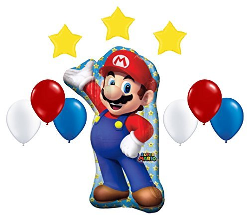 Super Mario Bros Mega Foil and Latex Balloons Decoration Kit (10 Pcs) (Mario Star Pinata)